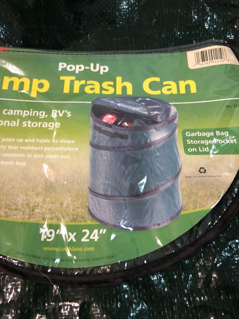 Trash pop up storage pocket on lid