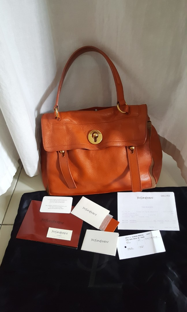 a7921cba136a YSL Yves Saint Laurent Muse Two in Orange tote bag. Authentic with ...