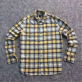 GAP LONG SHIRT FLANNEL CHECK YELLOW