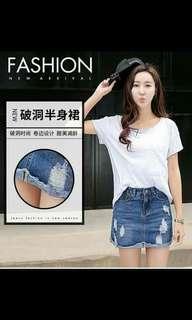Tattered maong skirt