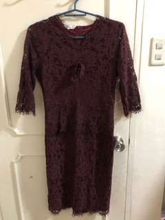 Moussy Maroon Lace Dress