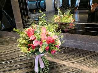 9折新娘花球連新郎襟花/bridal buqeut/結婚花球/Wedding flower