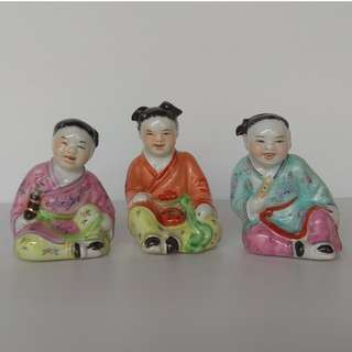 Vintage Chinese Sculpture Porcelain three happy lads Figurine in different postures