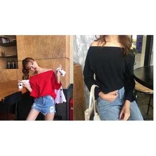 (269元專區) 春夏新款韓版一字領露肩T恤纯色開岔寬鬆百搭打底上衣
