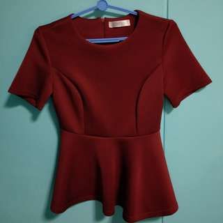 Cheris Maroon Peplum Top