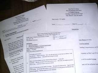 中學試卷 Secondary School Papers