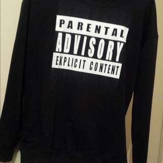 "Black ""Parental Advisory""Pullover Jumper"
