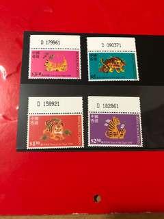 1998年香港虎年郵票編號位(如圖)