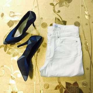 Cream White Lace Jeans