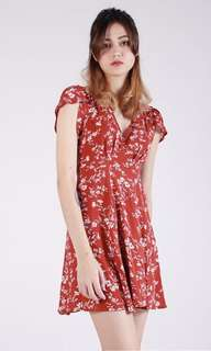 Summer Red Floral Wrap Dress