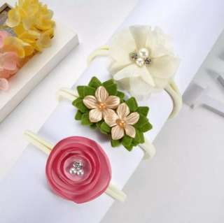 *In Stock* BN 3pcs Baby / Toddler Flower Elastic Headband Hairband Set
