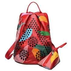 Women Genuine Leather Rivet Patchwork Handbag Backpack
