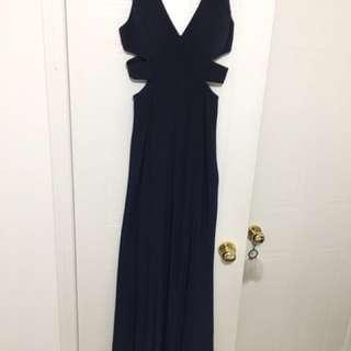 Navy Blue Cutout Gown