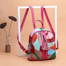 Women Genuine Leather Tassel Patchwork Handbag Backpack