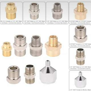 Airbrush Adapters And Connectors For Airbrush Compressor, Hose, Spray Gun And Parts Set Of 7 Pieces