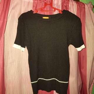 Black Blouse (Semi Crop Top)