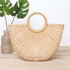 Women Hollowed Moon Bag Straw Bag Grass Beach Bag Handbag
