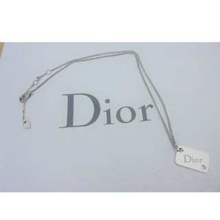 AUTHENTIC DIOR SILVER HEART LOGO PENDANT NECKLACE - (BOUGHT AT OVER RM 1000+)
