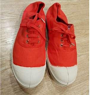 巴黎購入Bensimon橘紅休閒鞋36號(22.5適合)