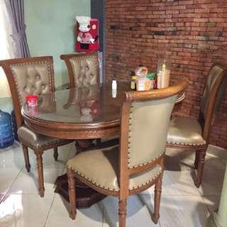 Satu set meja Kursi makan jati