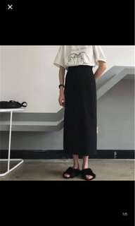 全新黑色顯瘦修身長裙