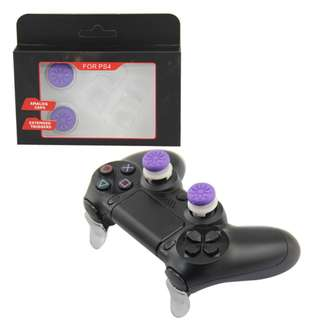 PS4 Controller FPS Grips Galaxy and L2 R2 Extended Button Kit - Purple+Transparent (New)