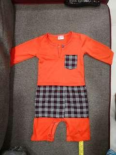 Baju Kurong Romper Orange