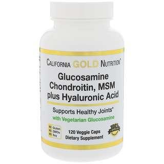 California Gold Nutrition 氨基葡萄糖軟骨素含MSM和透明質酸( 幫助關節健康靈活 )  120粒