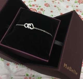 Mabelle 18k白金 鑽石心心手鍊