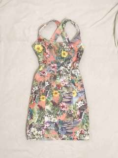 RIVER ISLAND Tropical Fitted Dress