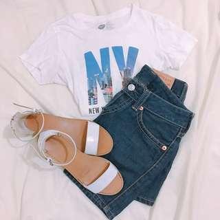 🚚 「二手」Zara 白色低跟繫帶涼鞋
