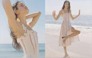 🚚 OshareGirl 06 歐美女士條紋印花荷葉滾邊設計連身洋裝連身裙