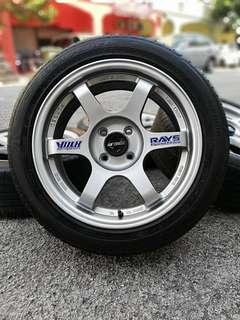 Te37 16 inch sports rim alza tyre 70%. * mora mora kasi you *