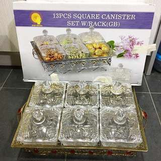 Square Canister Set With Rack (Crystal Glass) - Bekas Kuih