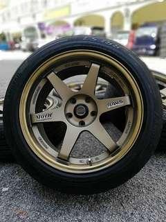 Te37 thailand sports rim triton lite 18 inch tyre 98% rim dan tayar baru pakai 3 minggu. * dibawah harga pasaran*
