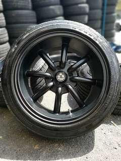 Watanabe 16 inch sports rim alza tyre 95%. * mora mora offer raya *