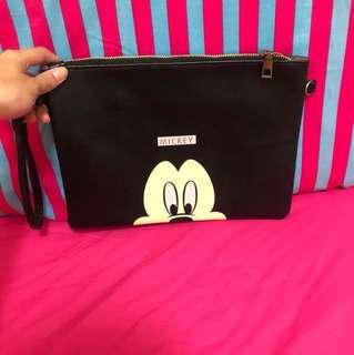 迪士尼 米奇 黑色 手拿包