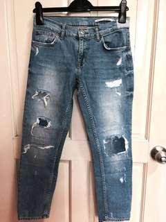 Zara Woman Medium Rise Ripped Denim Jeans