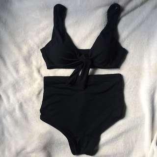 Black Front Tie Swimsuit