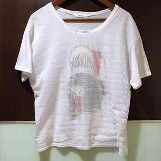 正韓貨  拼接網紗寬版短袖T恤/T shirt