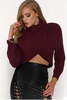 Maroon Cropped Cross Over Knit Jumper Size 8/Small