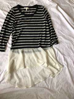 Striped shirt dress with flares