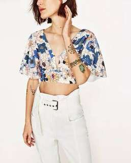 Zara floral crop top blouse