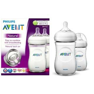 Philips AVENT Natural Range 260ml (9oz) x 2 Feeding Bottles
