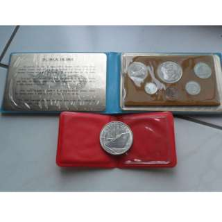 1977 Singapore Lunar Year of the Snake Coin Set & Unc $10 Silver Coin