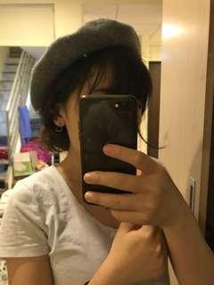 🚚 毛呢貝雷帽 貝蕾帽 可愛百搭灰色