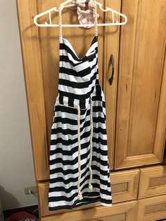黑白線條裙