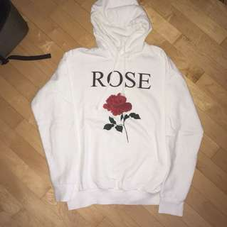Bershka white ROSE hoodie