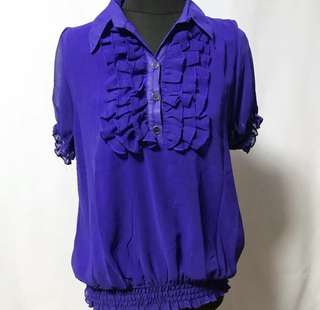 Collared Short Sleeved Blouse with Ruffles