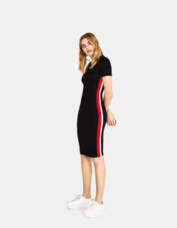 Bershka Midi dress with side stripes (black/red)